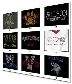 Custom Bling Showcase School Names Mascots