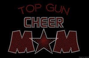 Top Gun Cheer Mom custom rhinestone design