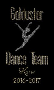 Golduster Dance Team custom rhinestone bling design