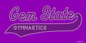 Gem State Gymnastics custom rhinestone design
